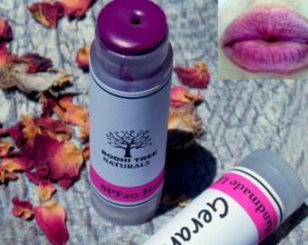 Tinted Lip Balm/ Moisturizing lip balm - Vibrant color - Natural Handmade Skin Care
