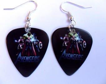 Handmade  Marvel AVENGERS Guitar Pick // Plectrum Earrings