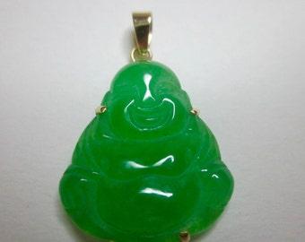 Vintage Apple Green Buddha Jade Pendant