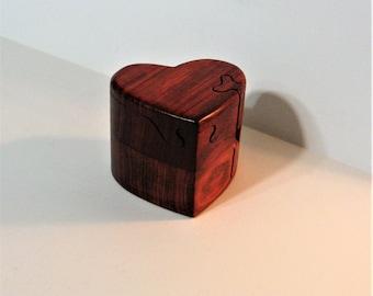 Heart Puzzle Box Made From Red Padauk Wood