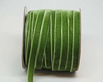 Velvet Woven Ribbon Trim -- 3/8 inches -- Pine Green