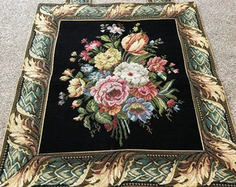 Vintage floral Tapestry,  Metrax wall hanging, gift for her, made in Belgium 1980's, embroidery, flowers, wall art, vibrant colours