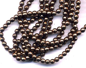 20 4 mm copper Brown faceted glass beads
