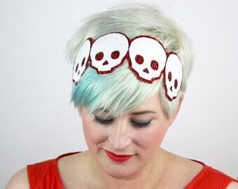 Halloween Skulls Headband, Glitter, Various Colours
