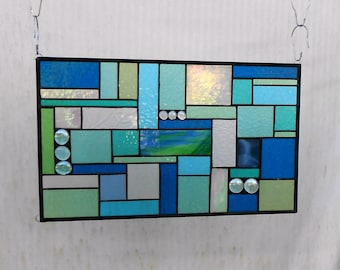 Stained Glass Patchwork Quilt, Stained Glass Panel, Stained Glass Window, Glass Transom Window Panel, Glass Quilt in Teal Green Aqua Blue