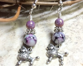 Beaded Poodle Earrings- Surgical Steel French Hook Wire Drop Earrings- Handmade Dangle Earrings