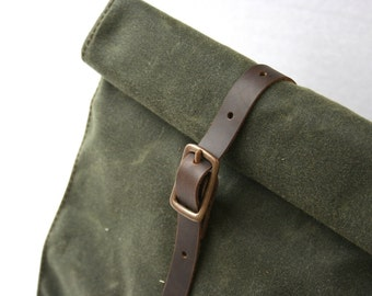 Olive Green Waxed Canvas Lunch Bag