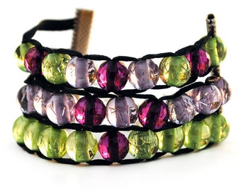 Purple and Green 3-Tier Ablet Knitting Abacus - Row Counting Bracelet