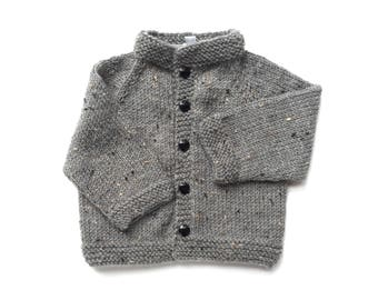 Gray Acrylic/Wool Blend Cardigan with 5 Black Buttons size 3 months
