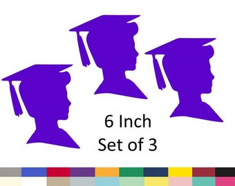Graduation Boy Centerpiece Picks Party DIY Decorations Die Cuts Party Supply 6 Inch set of 3 Pick Your School Colors Choose From 20 Colors