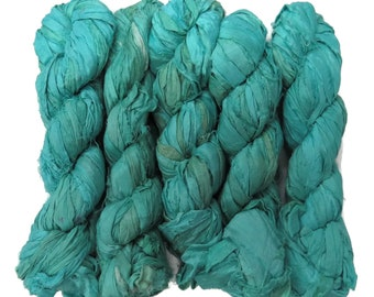 New! 50g Sari Silk Ribbon, 25-28 yards , color Seagreen