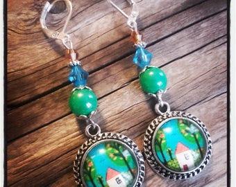 Cabochon dangle, Pearl Earrings / Green