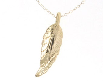 Leaf Necklace, 14K Solid Gold, as Seen on Jennifer Aniston And Courtney Cox, Celebrity Jewelry, Yellow Gold, Rose Gold, or White Gold