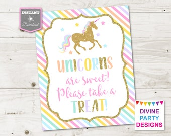 INSTANT DOWNLOAD Printable Unicorn 8x10 Sweets and Treats Party Sign / Unicorn Collection / Item #3508