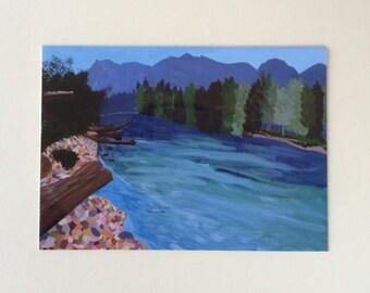 The River  Flathead River  Montana River  Montana Art  Landscape  Landscape Painting  Montana Painting  River Painting  8x10 Print
