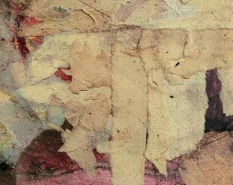 """Original abstract paper-collage """"Der Weisse Baum - The White Tree"""" 4""""x3"""""""