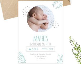 Faire-part naissance, à personnaliser, à télécharger, à imprimer, petipeu, papeterie, annonce naissance, naissance bébé, carte bébé