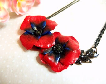 Leaf necklace connector with poppies / Poppy necklace