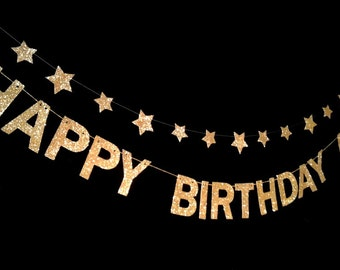 HAPPY BIRTHDAY -Glitter Banner  for Birthday Party décor / Celebrations/ Photo prop