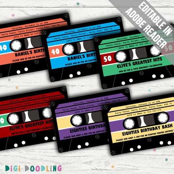 Retro Party Invitation Cassette Tape Invitation Ideal For 80s