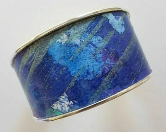 Wide tapered cuff bracelet, various blue colors, CUFF BRACELET, 1.5 inch width