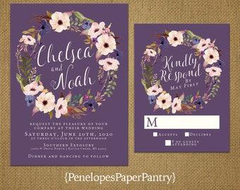Romantic Plum Fall Wedding Invitation,Purple,Blush,Flowers,Wreath,Elegant,Shabby Chic,Custom,Printed Invitation,Wedding Set,Optional RSVP