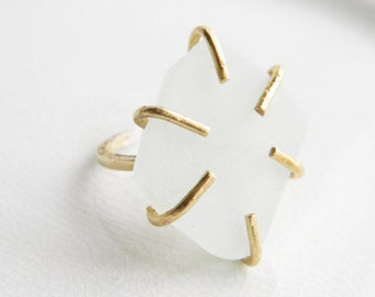Frosty White Sea Glass Ring - 6 Prong Brass Setting - Chesapeake Bay Genuine Seaglass - Beach Glass Jewelry