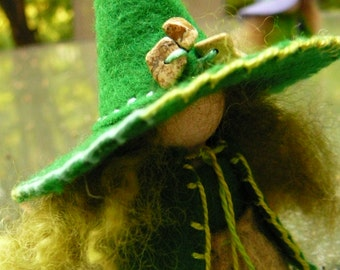 Green Wool Felt Witch, Peg Doll Witch, Waldorf Inspired, One of a Kind, Minature Witch
