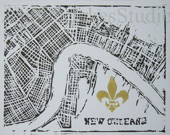 Thank You Card Set, New Orleans, Mississippi River Map and the Fleur-de-lis, 8 Card Box Set, Linocut Hand Printed Greeting Cards