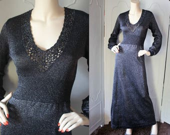 Vintage 1970's Designer Metallic Gray Lace Accent Maxi Dress by Wenjilli. Small.