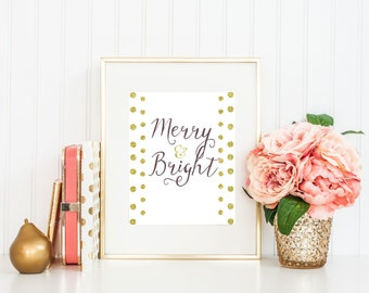 "Christmas printable décor 8x10"": ""Merry & bright "", merry bright Holiday Wall Art, Art Print, Christmas Wall Art - Instant Download"