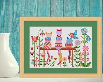Spring flower cross stitch / cat cross stitch - modern folk cross stitch pattern, animal cross stitch, modern cross stitch, Instant download