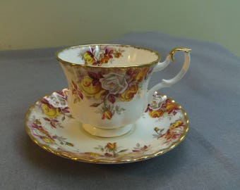 Royal Albert Teacup and Saucer, Lenora, Yellow White and Orange Roses, Montrose Cup, England, 1960s