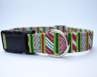 Candy Stripe Holiday Dog Collar
