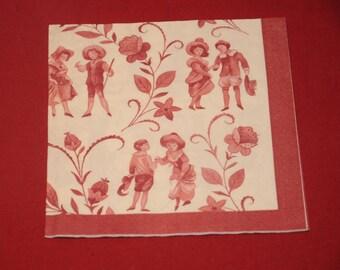 "home deco ""toile de Jouy"" themed paper napkin"