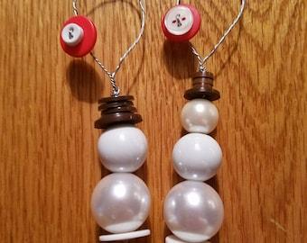 Set of 2 Snowman Button Ornaments