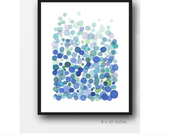 Blue Wall Art, Abstract watercolor painting, Meditation art, Abstract watercolor print, blue drops rain