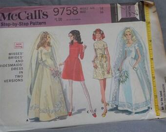 Vintage (1969) McCall Sz 14 (36/27/38) Wedding Dress Pattern