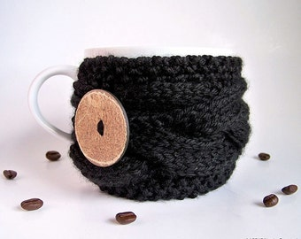 Coffee Cozy, Knit Cup Cozy, Tea Cozy, Hygge Decor, Coffee Cup Sleeve, Knit Coffee Cozy, Black Coffee Mug Cozy, Coffee Cup Cozy, Coffee Gifts