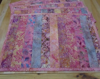 Placemats,Handmade Placemats,Set of 6 Placemats,Batik Placemats,Quilted Placemats,Pink Placemats,Pink Batik Placemats,Pink Kitchen Placemats