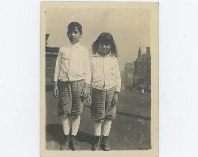 Vintage Snapshot Photo, c1920s: Boy & Girl on Roof [84663]