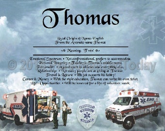 Ambulance Name Meaning Origin Print Name Personalized Certificate 8.5 x 11 Inches Customized With Any Name