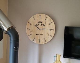 "Large ""ASYLUM"" clock."