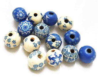 blue and white patterned polymer clay inspired salvaged beads--mixed lot of 14