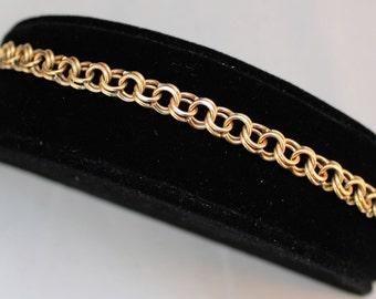 "Estate 14K Solid Yellow Gold 7.5"" Double Link Charm Bracelet 15.8 Grams"