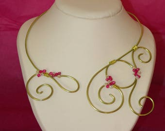 Necklace wire aluminum lime and fuchsia Crystal and Crystal beads
