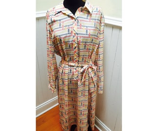 Vintage 1970s Lanvin Mod Red Yellow and Blue Shirtdress- L/XL