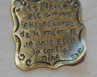 Set of 4 Antique Brass Vintage Style French Love Letter  25mm Charms Pendants Retro