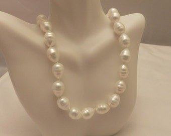 Sterling Silver Vintage White Faux Pearl Necklace
