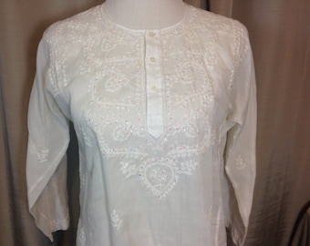 White Sheer Cotton Pull Over Blouse with Long Sleeves White Embroidered Trim & Sequins Hippie Blouse Medium Previously 20 Dollars ON SALE